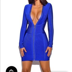 Blue bandage plunge dress